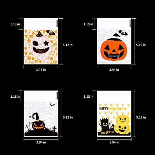 400PCS Halloween Self Adhesive Candy Bags Clear Cellophane Bags 4 Different Style Trick or Treat Bag for Cookie Bakery Biscuit Snacks Dessert Homemade Crafts by Homfshop (Image #1)