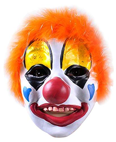 Clown Mask with Colorful Hair Scary Latex Mask