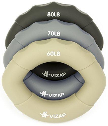 VIZAP 3er-Set (60-80 lb) ergonomische Premium Handtrainer   Fingerhanteln sind perfekt zur Stärkung der Hand- & Unterarmmuskeln   Ideale Fingertrainer fürs Klettern, Fitness & Unterarmtraining