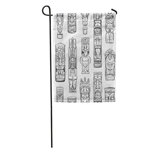 Nick Thoreaufhed Garden Flag Totem Collection of Sketches Hawaiian Tiki Idols Tattoo Mask Bar Home Yard House Decor Barnner Outdoor Stand 12x18 Inches Flag