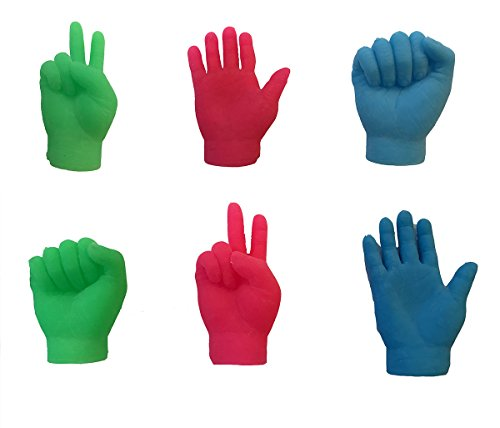 TheGag Finger Hands Finger Puppets in Neon Colors- Rock Paper Scissors-Game Set of 6 Hands-2 of Each Tiny Finger Hand-Realistic Feeling-Soft (Bright)