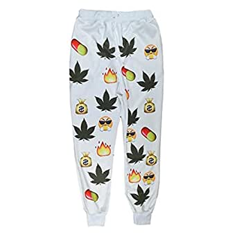 Unisex Hipster jogging pants emoji fashion gym running sport sweatpant Small
