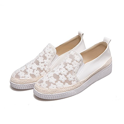 BalaMasa Ladies Hollow Out Square-Toe Platform Microfiber Flats Shoes White 0Zp1e1