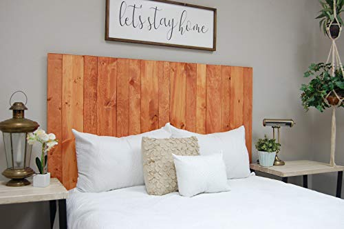 (Gunstock Headboard Queen Size Stain, Hanger Style, Handcrafted. Mounts on Wall. Easy Installation)