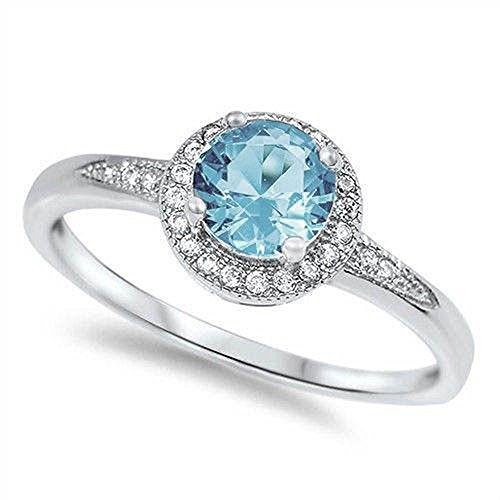 Oxford Diamond Co 1.25ct Halo Set Solitaire Cubic Zirconia & Simulated Gemstone Promise Engagement Ring .925 Sterling Silver Ring Sizes 3-12 Colors -