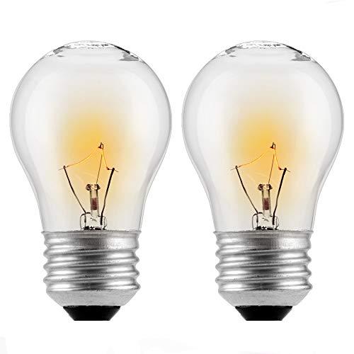 (2-Pack) Appliance Oven Light Bulb,HighTemperature 300 Degree Resistant Incandescent Bulbs - High Temp - 120v 40 watt Clear - 415 Lumens - Medium BrassE26/E27 Base - A15 130v A15 E26 Medium Base
