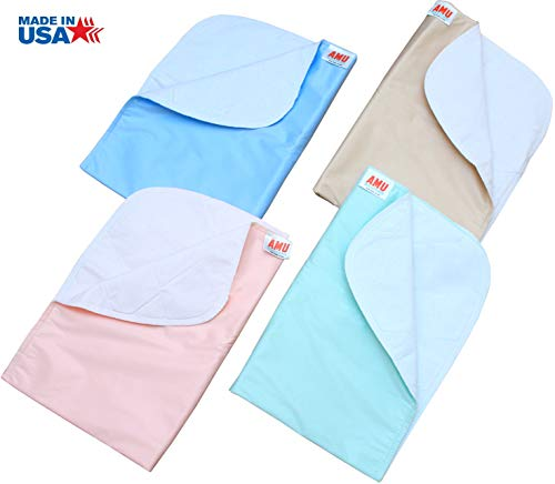 4 Pack Washable Bed Pads/Reusable Incontinence Underpads 18x24 - Blue, Green, Tan and Pink - Ideal for Children and Adults Wholesale Incontinence Protection/Cloth Chucks Bed Pads Washable ()