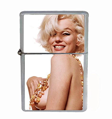 Marilyn Monroe Naked Wearing Necklace Flip Top Oil Cigarette Lighter Sexy Smoking Classic