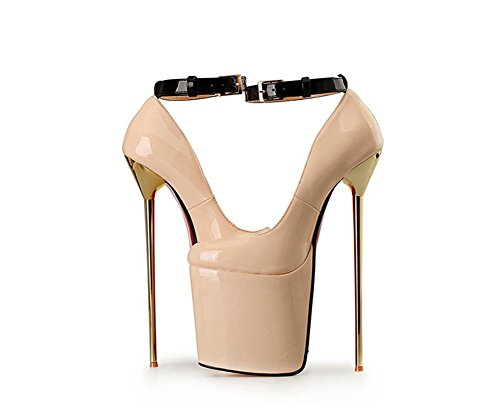 Dressy Wedding Fall APRICOT Cheville imperméables Dames Party Stiletto Nightclub Sexy Nouveau Bracelet Superficiel Single Bain Shoes PU NVXIE Heel Red Black artificielles EUR45UK105 High Spring Pompes Femmes CwxgSqS