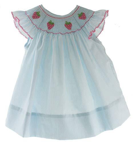 Petit Bebe Girls Smocked Dress Strawberry Smocking Blue Angel Bishop 4T -
