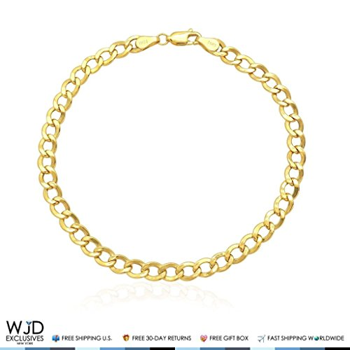 10K Yellow Gold 5.2mm Cuban Curb Hollow Link Bracelet 8.5'' by WJD Exclusives