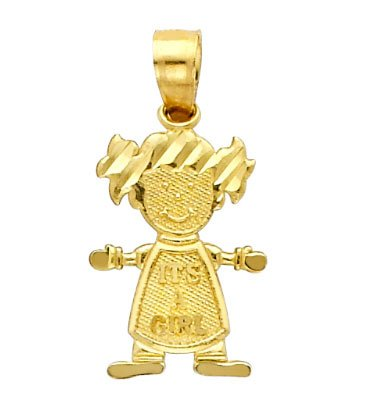 14 ct 585/1000 Or Baby Fille Coupeie Charme Pendentif