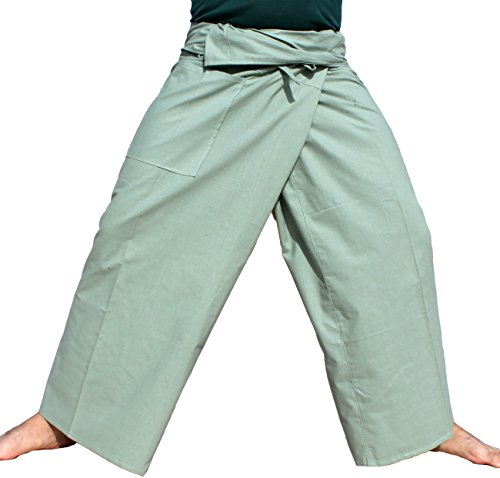 RaanPahMuang Brand Tough Thin Cotton Plus Thai Fisherman Wrap Pants, XX-Large, Light Green