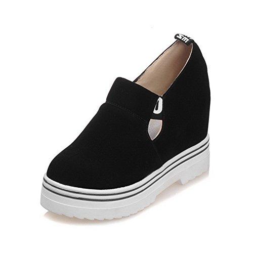 VogueZone009 Damen Blend-Materialien Rund Zehe Hoher Absatz Gemischte Farbe Pumps Schuhe Schwarz
