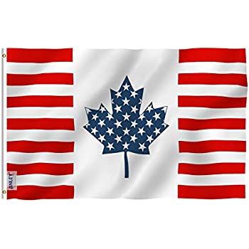 724851b235d6 Anley Fly Breeze 3x5 Foot USA Canada Friendship Flag - Vivid Color and UV  Fade Resistant - Canvas Header and Double Stitched - American Canadian  Combination ...
