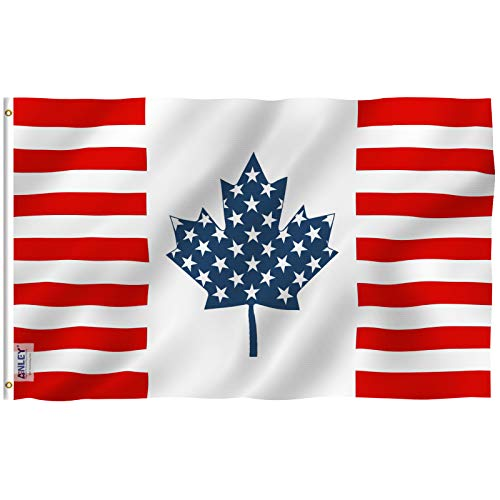 Anley |Fly Breeze| 3x5 Foot US Canada Friendship Flag - Vivid Color and UV Fade Resistant - Canvas Header and Double Stitched - American Canadian Combination Flags Polyester with Brass Grommets