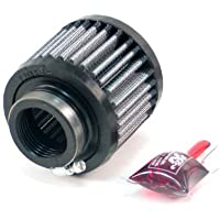 K&N 62-1430 Vent Air Filter / Breather: Vent Air Filter/ Breather; 1.375 in (35 mm) Flange ID; 2.5 in (64 mm) Height; 3 in (76 mm) Base; 3 in (76 mm) Top
