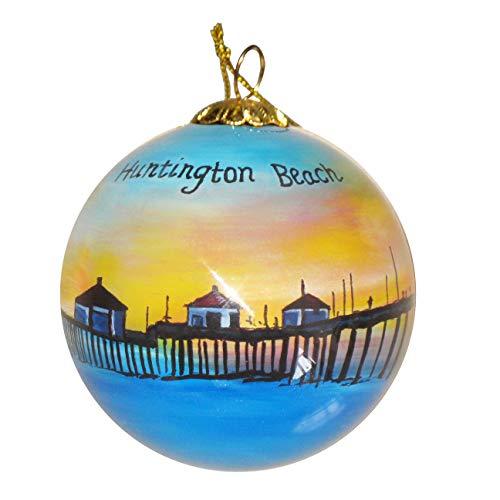 Art Studio Company Hand Painted Glass Christmas Ornament - Huntington Beach Pier at Night