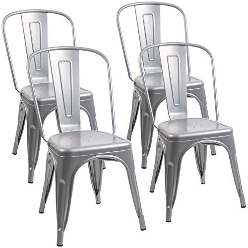 Furmax Metal Dining Chair Indoor-Outdoor Use Stackable Classic Trattoria Chair Chic Dining Bistro Cafe Side Metal Chairs Set of 4 (Sliver)