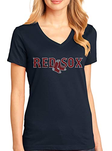 Red Sox, Women's Perfect Weight V-Neck Tee. Ndk1263 (Small, Navy)