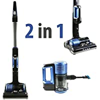 Qualtex 2-in-1 Cordless Upright Vacuum Cleaner with Detachable Hand Vacuum for Car and Pet 2-speed Setting Lightweight Rechargeable 22.2V