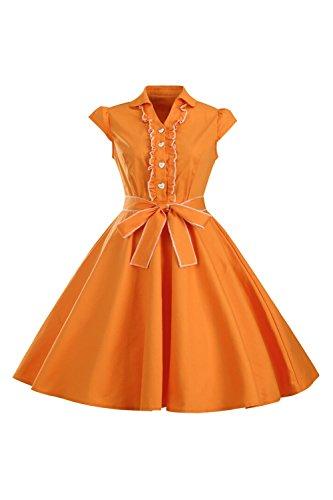 Yacun años 1950 Cap manga de las mujeres Swing vestido Vintage Orange