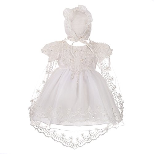 Dressy Daisy Baby Girls' Beaded Scalloped Embroideries Baptism Christening Gown Dress with Cape and Bonnet Infant Size 3-6 Months Ivory