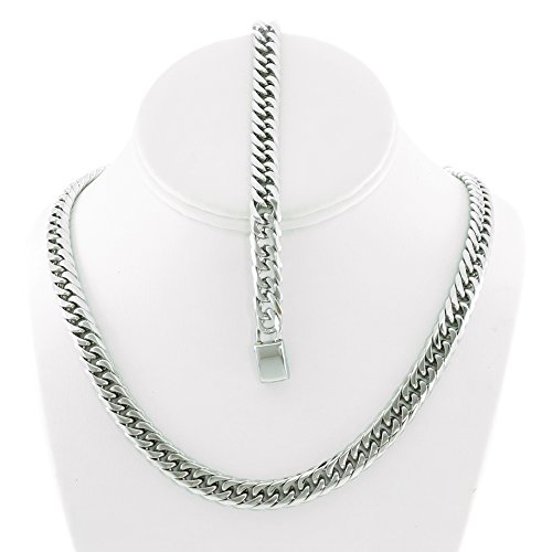 tainless Steel 9mm Thick Miami Cuban Link Chain Necklace & Bracelet Set 24'' (24' Necklace Silver Set)