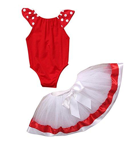 Mickey Mouse Costume Dancing (Rush Dance Happy Birthday Girl Mickey Minnie Leotard Tutu Dress Petti Skirt Set (100 (2-3T), Red & White))