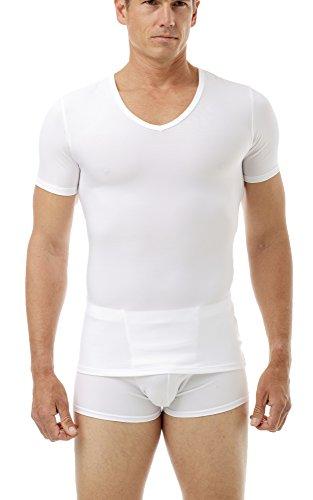Underworks Mens Microfiber Compression V-Neck T-shirt, Large, White (Microfiber V-neck)