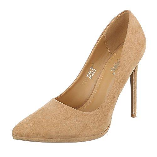 Ital-Design High Heel Damenschuhe Plateau Pfennig-/Stilettoabsatz High Heels Pumps Apricot M248