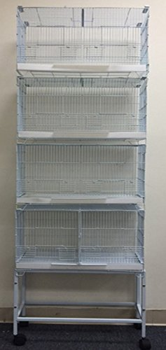 COMBO: 4 Stack and Lock Double Breeder Bird Breeding Cages With Removable Dividers And Stand (Lock Double Breeder Cage)