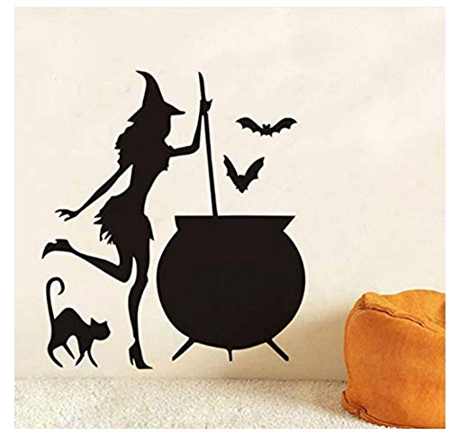 Ymran Witch Cauldron Potion Bats Black Cat Vinyl DIY Wall Stickers for Living Room Art Wallpaper Home Halloween Decoration Accessories 43X37Cm ()