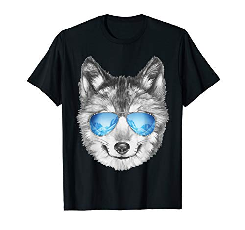 (Cool Wolf T-Shirt Wolf Face Wearing Shades Shirt)
