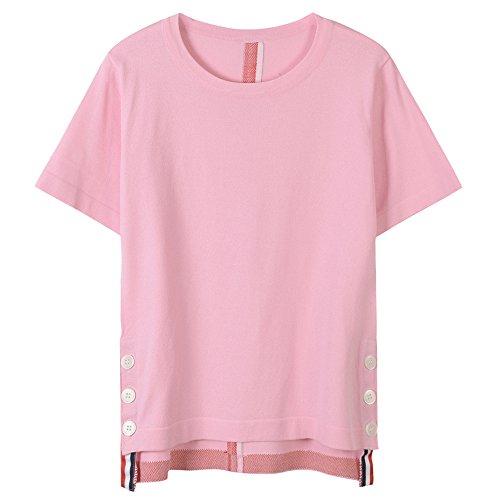 Maniche Nastro Corte shirt Xmy Elegante A T Rosa E Versatile Donna Maglia Striato Estate 7nwZZfztI