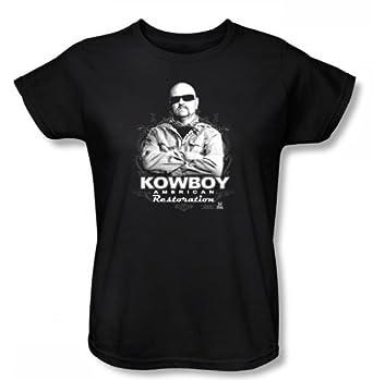 amazon american restoration kowboyレディースtシャツブラックで