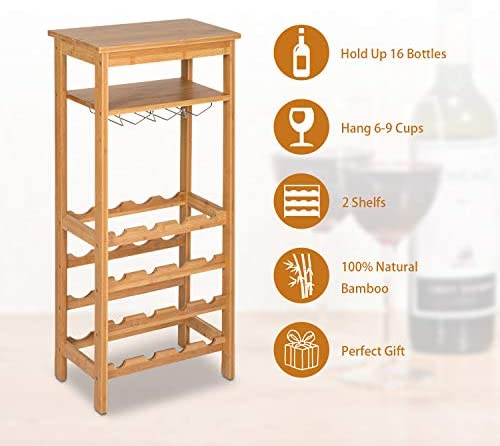 Kinsuite 16 Bottles Bamboo Wine Rack 4-Tire Free Standing Holder Storage Display Shelf
