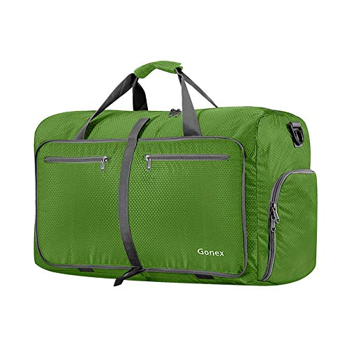 Gonex 40L Packable Travel Duffle Bag for Boarding Airline, Lightweight Gym Duffle Water Repellent & Tear Resistant Dark Green