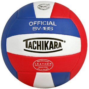 (Tachikara SV18S Composite Leather Volleyball (Red White and Blue))