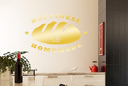 Happiness Is Homemade Loaf Of Bread Wall Stickers Art Decals - Large (Height 57cm x Width 92cm) Shiny Gold