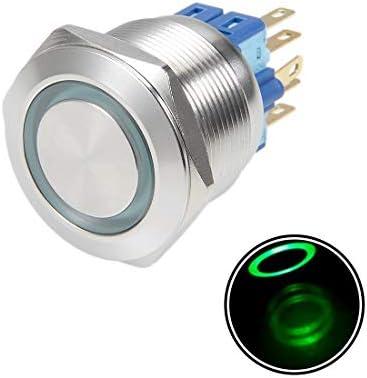 uxcell 押しボタンスイッチ プッシュボタンスイッチ ラッチング自己ロック 取付穴径25mm 5A 24V レッド 瞬間 25mm 5A 24V レッド フラットヘッド