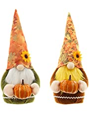 QYCX 2 Pcs Thanksgiving Gnome-Pumpkin Maple Leaf Thanksgiving Gnome Elf Ornaments Thanksgiving Faceless Doll Decorations Handmade Swedish Nisse Scandinavian Folklore Plush Happy Thanksgiving Gnome Table Decor Gifts for Autumn Harvest Festival Birthday Home Office Farmhouse Table Tiered Tray Display Thanksgiving Gifts