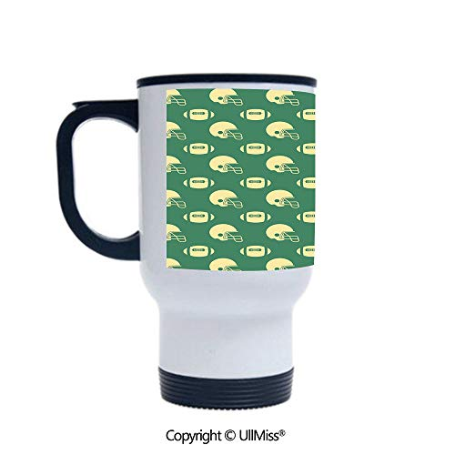 - Stylish Stainless Steel Attractive And Distinctive Design 14OZ Travel Mug Cup Retro Style Pattern with Rugby Helmets and Balls Tournament Decorative,Green Cream Suitable For Hot And Cold Drinks