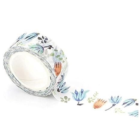 Cian/ótico Azul WOVELOT 1.5Cm Amplia Flores Lujuriantes Washi Tape Cinta Adhesiva Etiqueta Scrapbooking Etiqueta Adhesiva Cinta Adhesiva