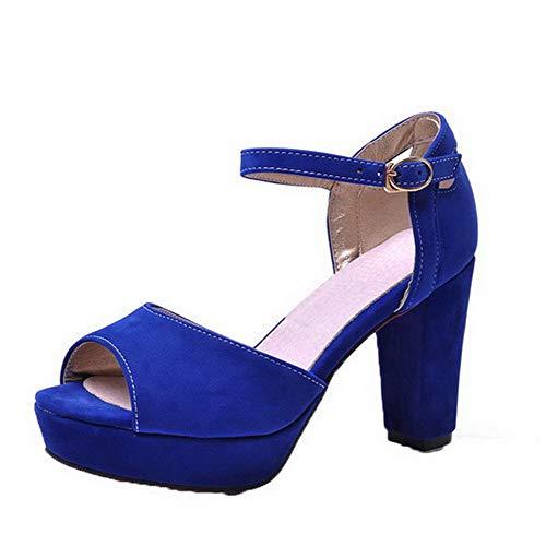 Bleu Haut TSFLH008044 Femme Boucle Couleur à Ouverture Talon d'orteil AalarDom Unie Sandales aRgfwBq