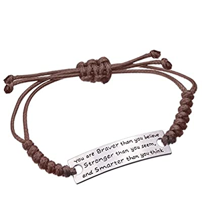Angelus You are Braver than you believe Charming Little Inspirational Leather Bracelet Brown