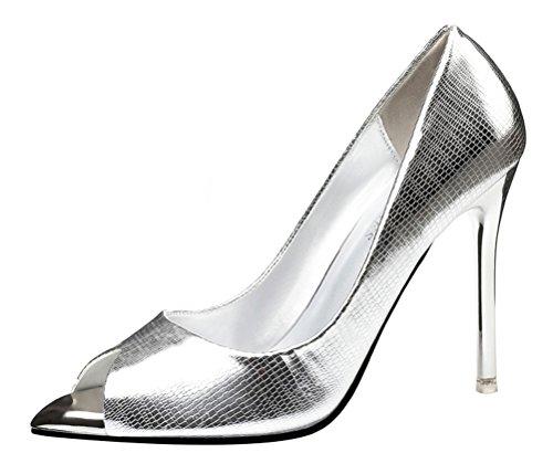 T&Grade Women Fashion Slip On Low Cut Peep Toe Thin High Heel Plain Pump Sandals Shoes(8 B(M) US, (Walker Plain Toe Oxford)