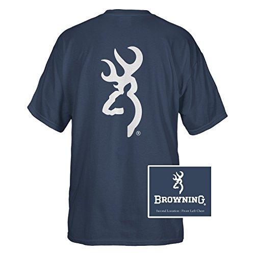 Browning Men's Buckmark Logo Hunting And Shooting T-Shirt (Navy, Large)