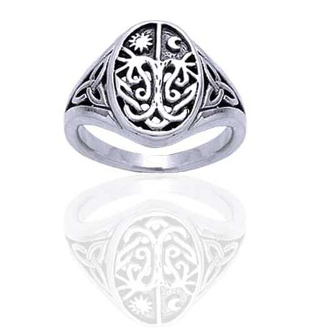 Celtic Trinity Knot Tree of Life with Sun and Moon Sterling Silver Ring(Sizes 3,4,5,6,7,8,9,10,11,12,13,14,15,16)