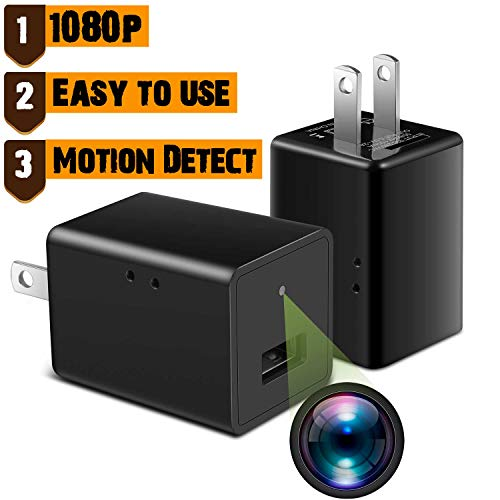 WAYMOON Mini 1080P Spy Hidden Camera Portable Home Security Cameras Charger Nanny Cam Small Indoor Video Recorder Motion Activated - No Wi-Fi Needed, Black